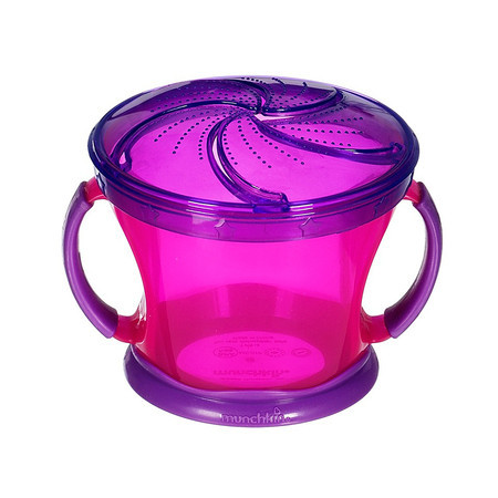 A purple transparent snack cup for toddler with handle on the side